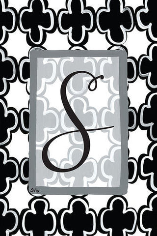 S- Black and White Garden Flag, Magnolia Lane