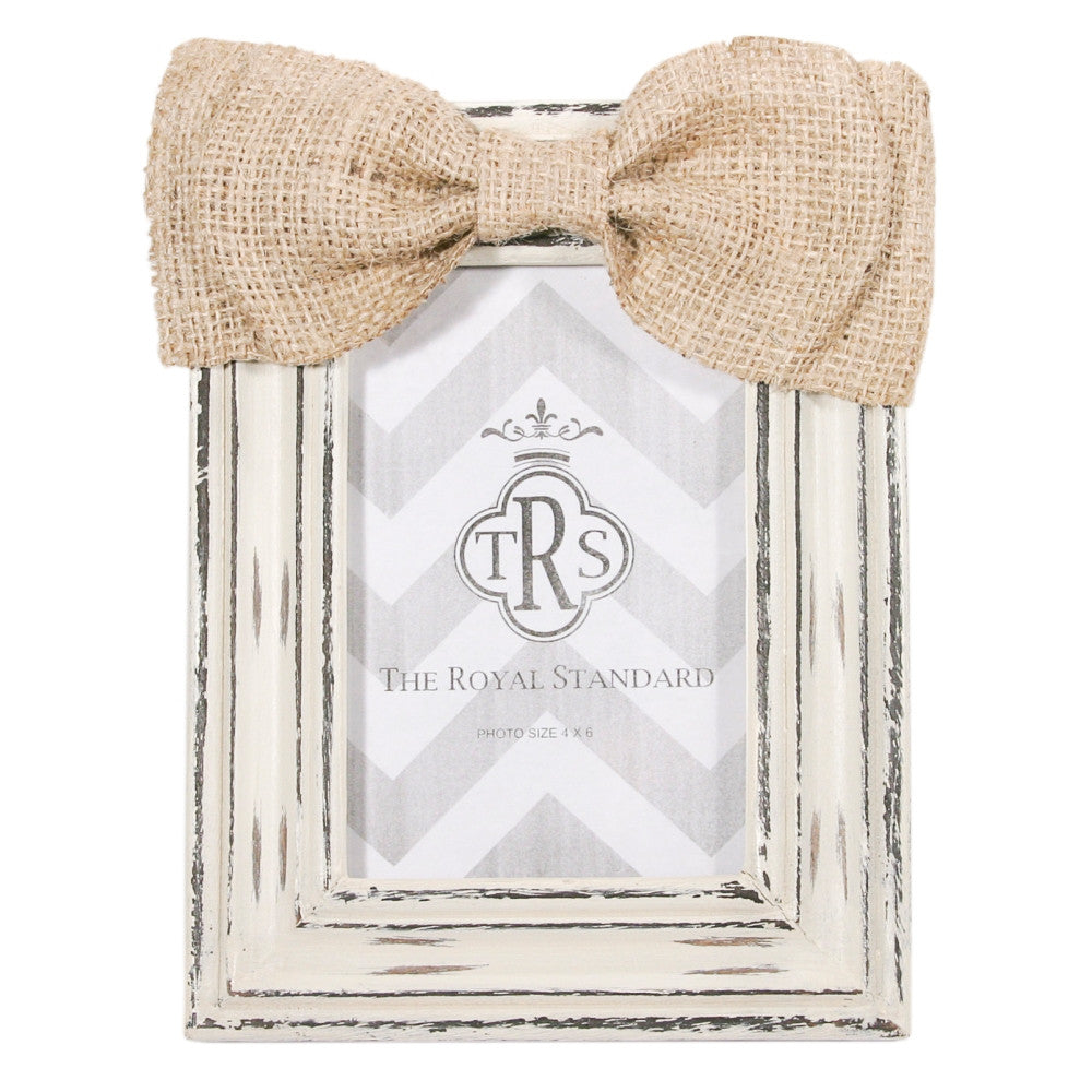 Burlap Bow Frame-Cream – Pipers Monograms & Gifts