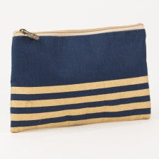 Stripe Glamour Juco Cosmetic Bag in Navy