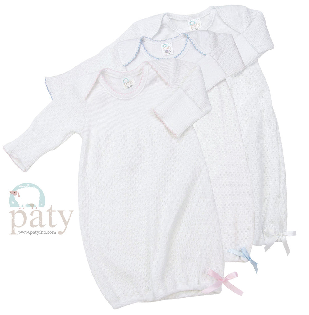 Paty Inc. Baby Gown-White with Pink trim – Pipers Monograms & Gifts