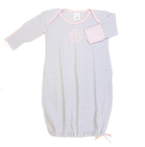 Paty Inc. Baby Gown-Gray with Pink Trim