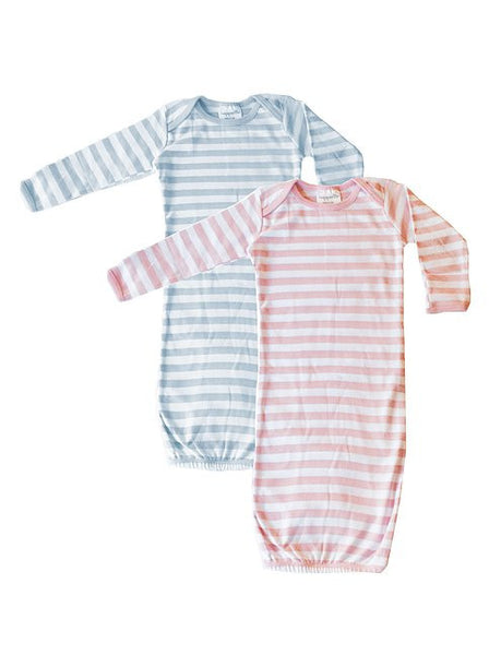 Stripe Baby Gown-Blue/Pink