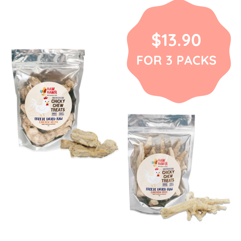 [BUNDLE DEAL] Raw Rawr Freeze Dried Raw Chicken Feet & Neck