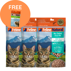 3 FOR $60 Feline Natural Freeze Dried Cat Food - Beef & Hoki