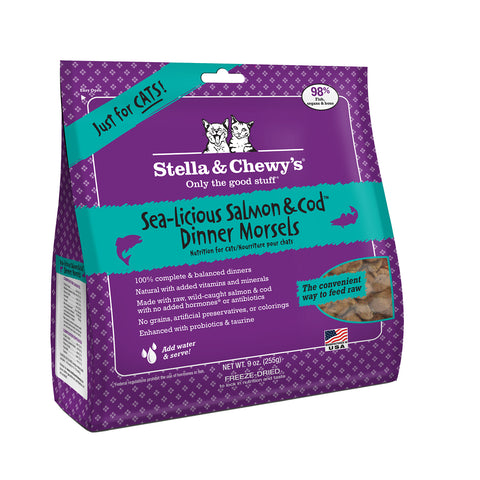 Stella & Chewy's Freeze Dried Salmon & Cod Dinner Morsels for Cats 9oz
