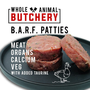 Whole Animal Butchery Frozen BARF Duck Patties