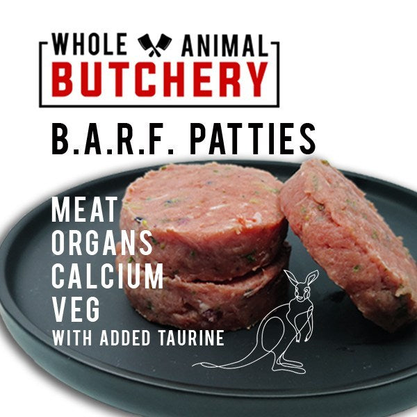 Whole Animal Butchery Frozen BARF Roo Patties