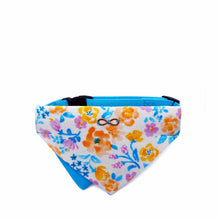 Load image into Gallery viewer, Bowtix Dog Collar with Bandana - Blooming Blue (Medium)