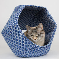 The Cat Ball in Blue & White Geometric Tiles