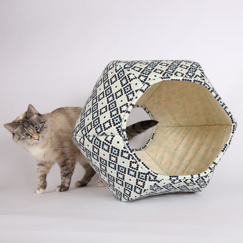 The Cat Ball in Navy Geometric