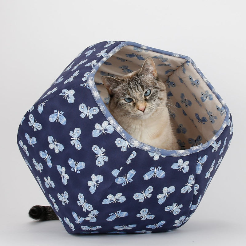 The Cat Ball in Navy Blue and White Butterflies