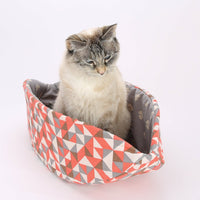 The Cat Canoe in Grey and Coral Geometric