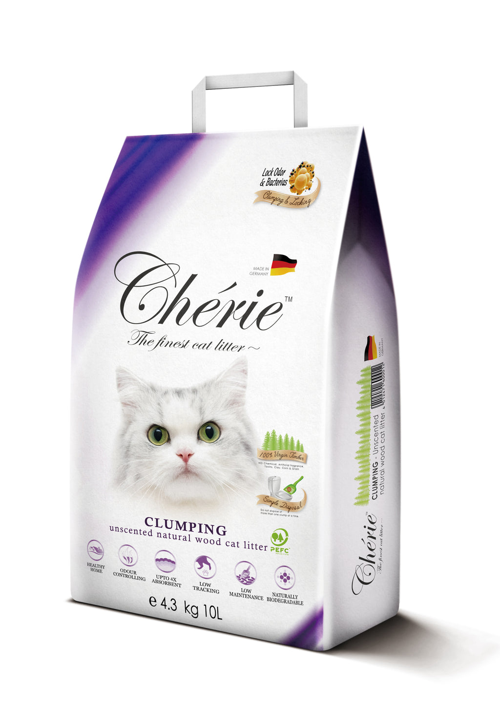 PROMO: 3 FOR $54 Chérie Unscented Clumping Natural Wood Cat Litter 10L