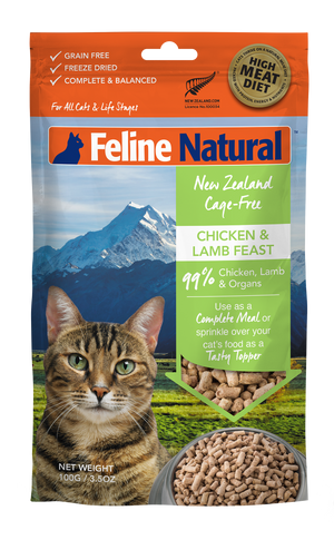Feline Natural Freeze Dried Chicken & Lamb Feast 100g