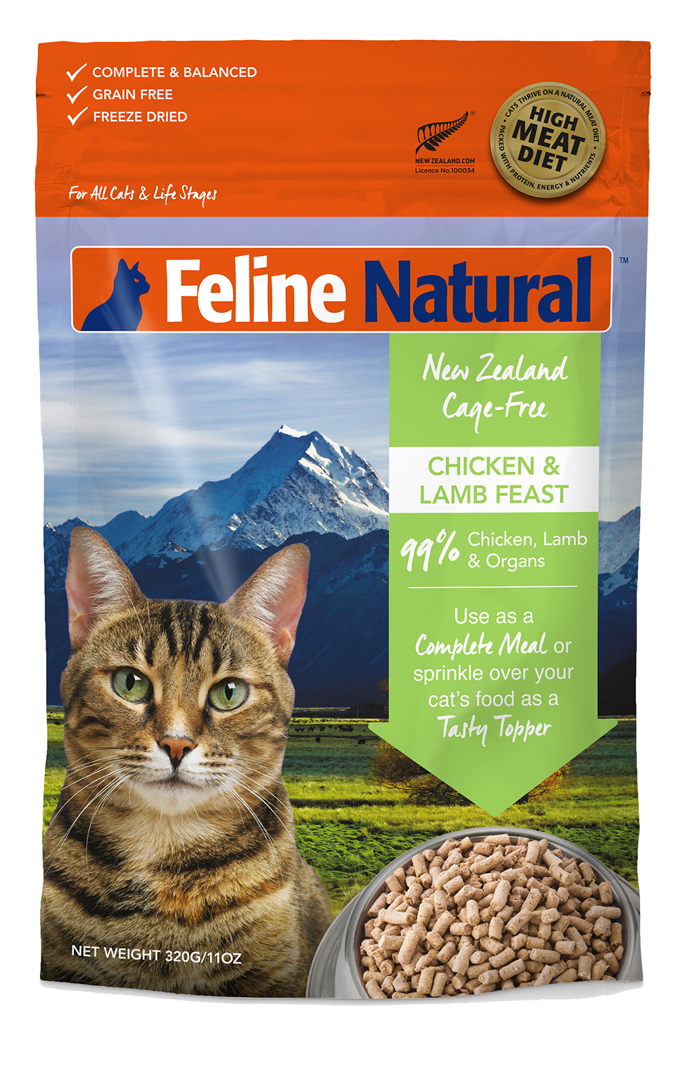 Feline Natural Freeze Dried Chicken & Lamb Feast 320g