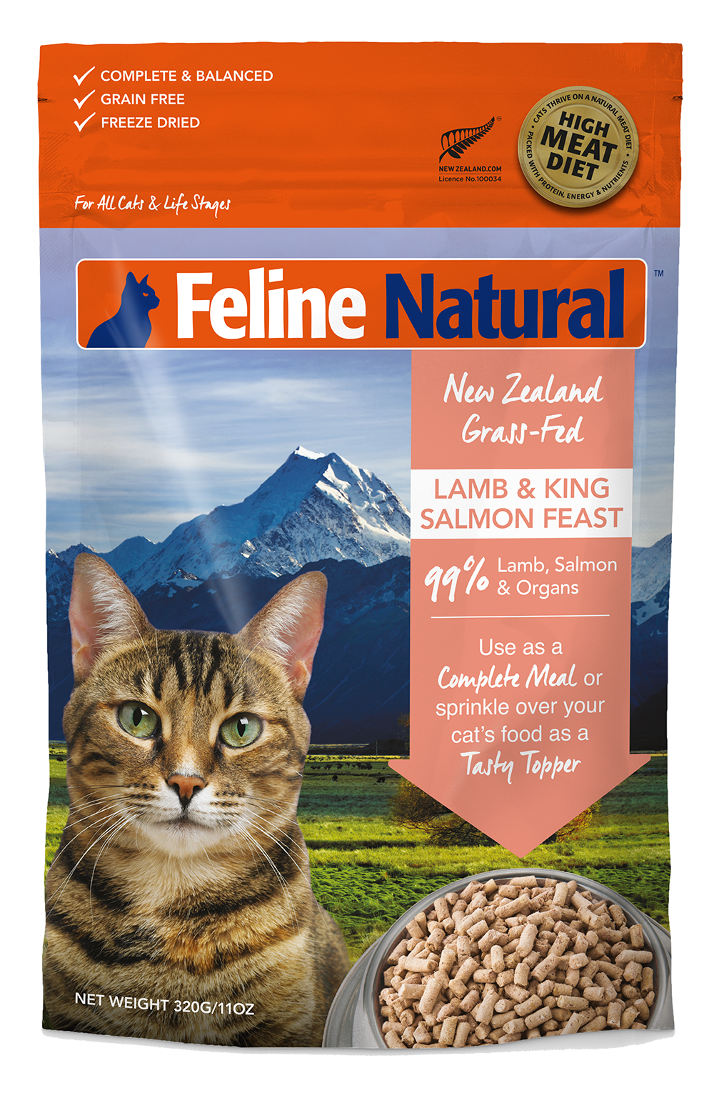 Feline Natural Freeze Dried Lamb & King Salmon Feast 320g
