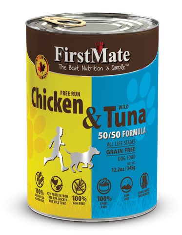 FirstMate Free Run Chicken & Wild Tuna 50/50 Formula for Dogs 12.2oz
