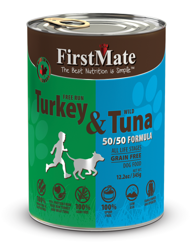 FirstMate Free Run Turkey & Wild Tuna 50/50 Formula for Dogs 12.2oz