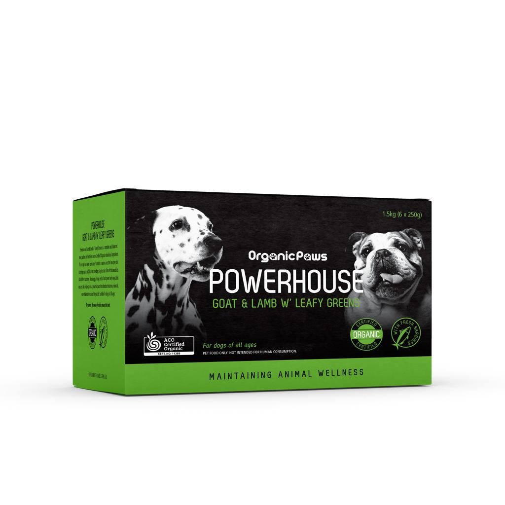Organic Paws Frozen Raw Power Blend - Goat & Lamb W' Leafy Greens