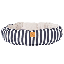Load image into Gallery viewer, Mog & Bone Reversible Bed - Navy Hamptons Stripe