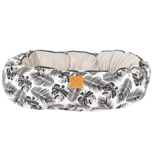 Load image into Gallery viewer, Mog & Bone Reversible Bed - Black Tropical Leaves