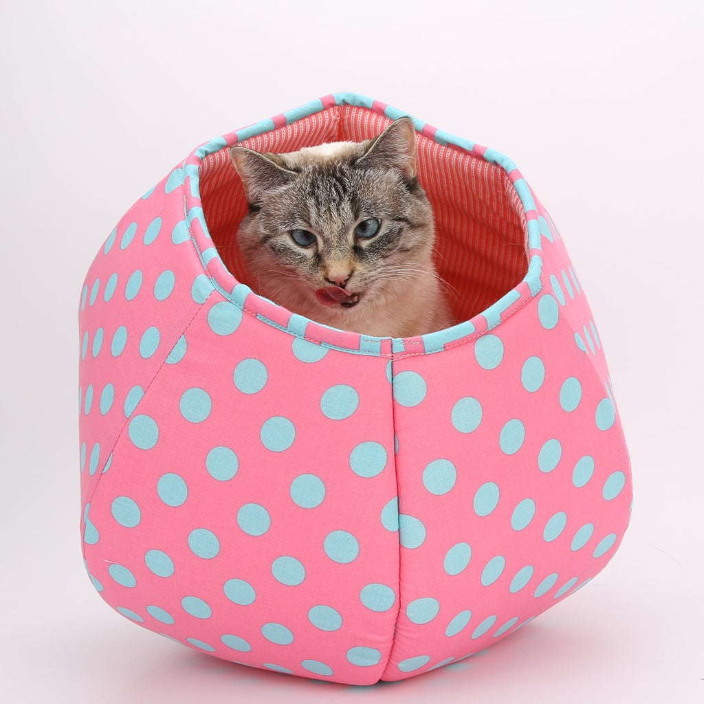 Mini Cat Ball in Pink and Aqua Polka Dots