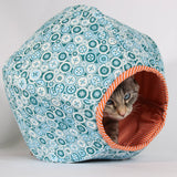 Mini Cat Ball in Teal Buttons with Orange Stripes