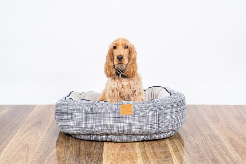 Mog & Bone Reversible Bed - Navy Linen