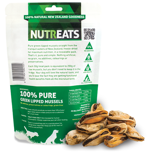 Nutreats Freeze Dried Green Lipped Mussels Treats for Dogs