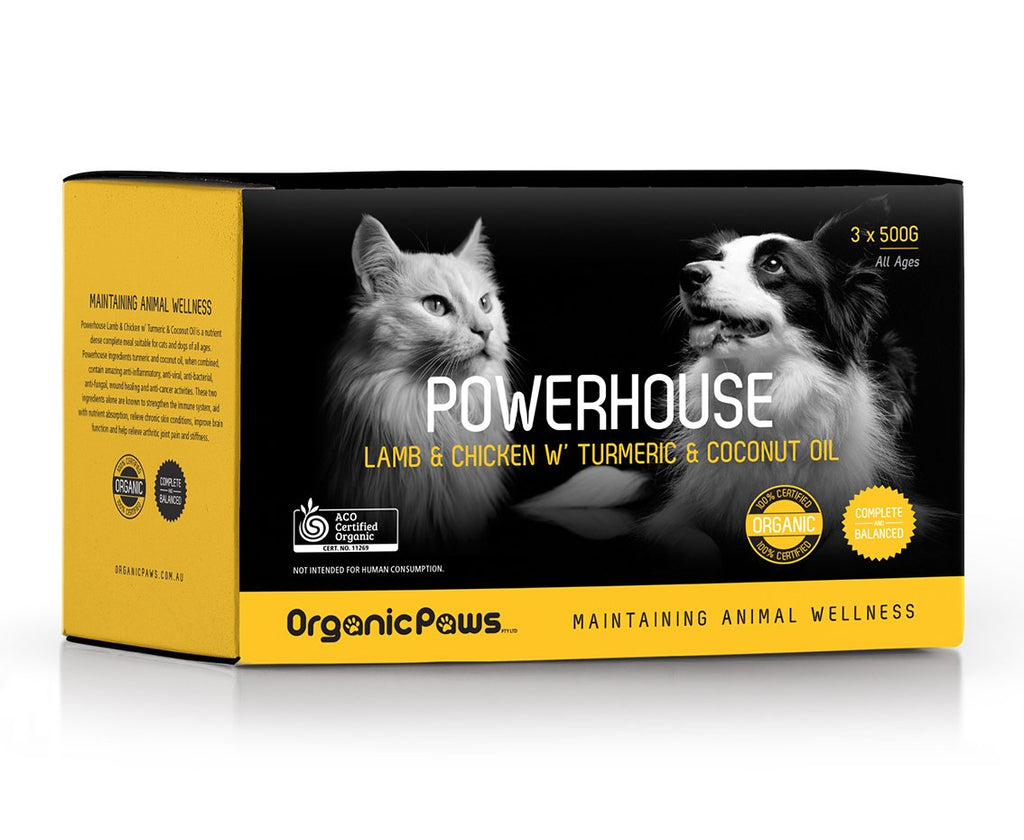 Organic Paws Frozen Raw Power Blend - Lamb & Chicken W' Turmeric & Coconut Oil