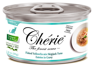 Chérie Signature Gravy Cat Food - Flaked Yellowfin mix Skipjack Tuna Entrées in Gravy 80g