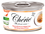 Chérie Signature Gravy Cat Food - Flaked Yellowfin mix Skipjack Tuna with Shrimp Entrées in Gravy 80g