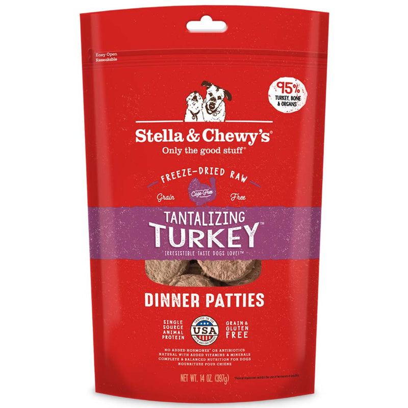 Stella & Chewy's Freeze Dried Tantalising Turkey Dinner Patties for Dogs 14oz