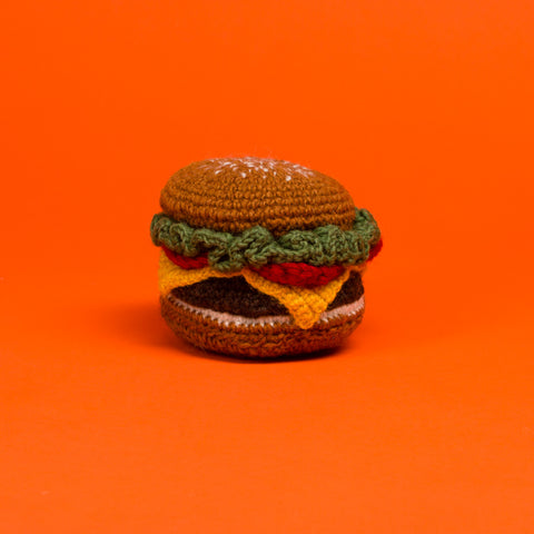 Hand Knit Hamburger Toy