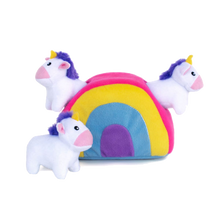 Load image into Gallery viewer, Zippypaws Unicorns in Rainbow Burrow Toy