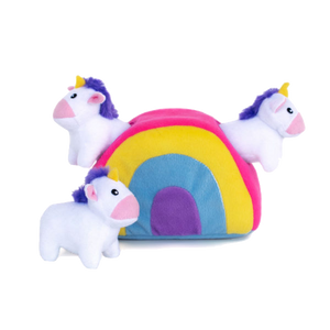 Zippypaws Unicorns in Rainbow Burrow Toy