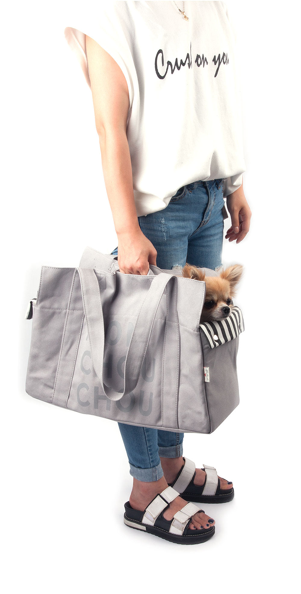 Monchouchou Canvas Tote Bag in Grey