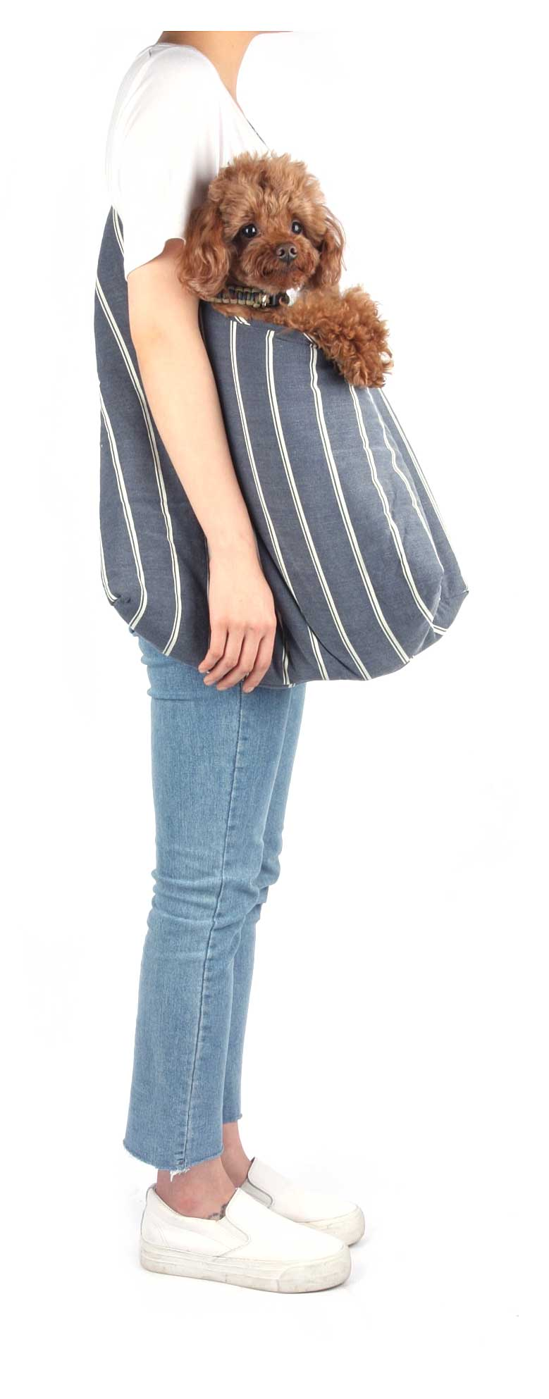 Monchouchou Pogni Bag in Navy Stripes