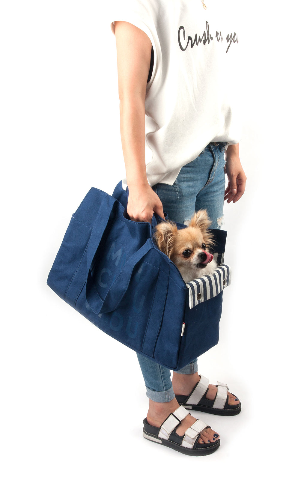 Monchouchou Canvas Tote Bag in Navy