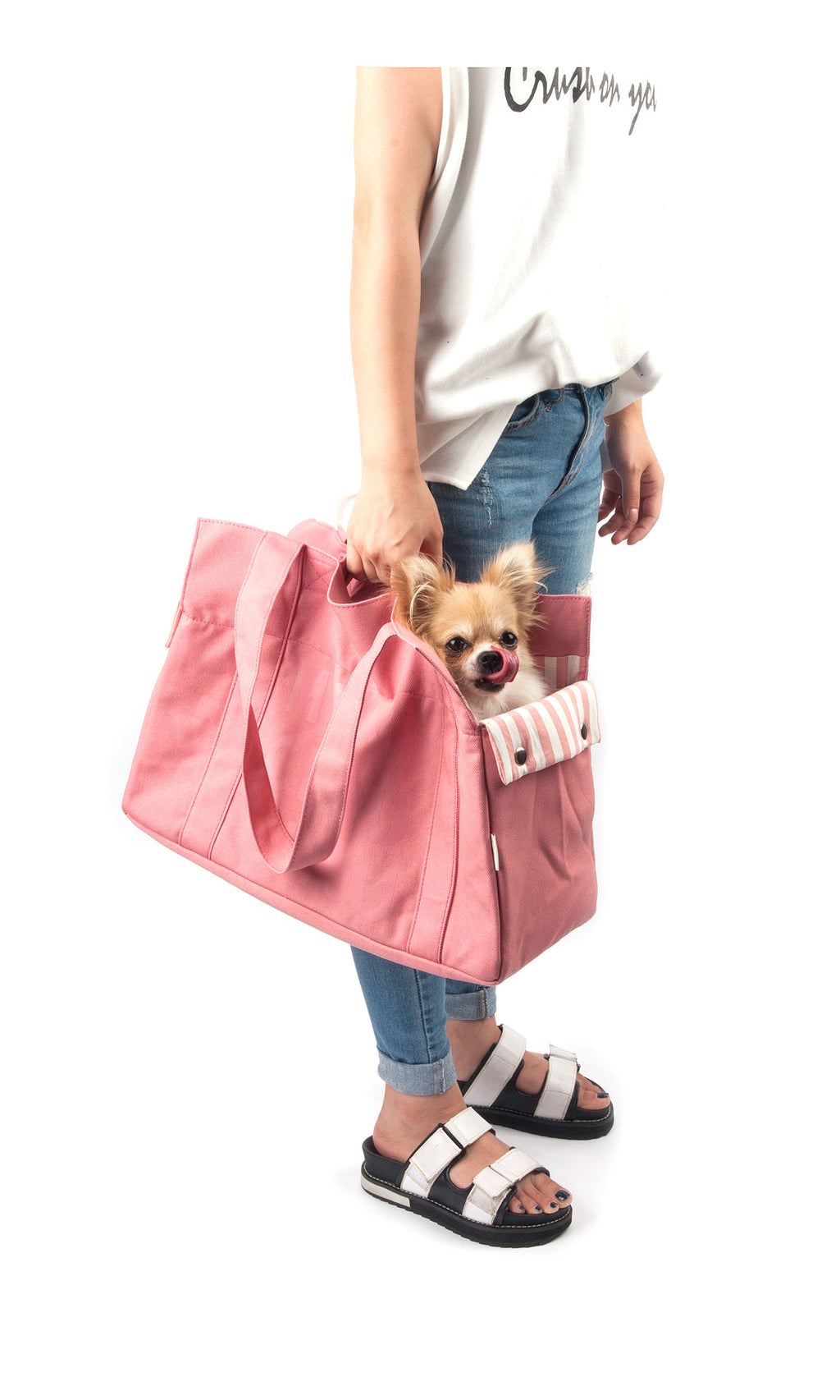 Monchouchou Canvas Tote Bag in Pink