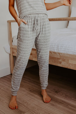 Siesta Striped Joggers in Grey