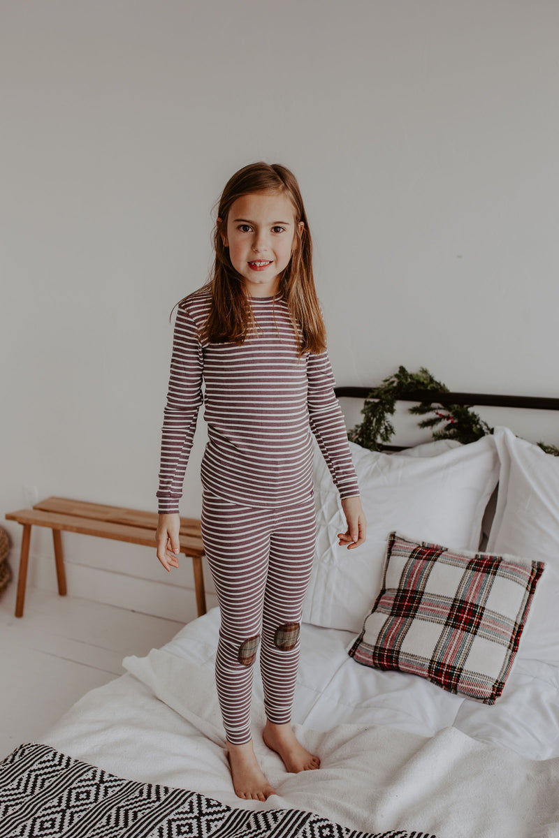Purple Striped Pajama Set