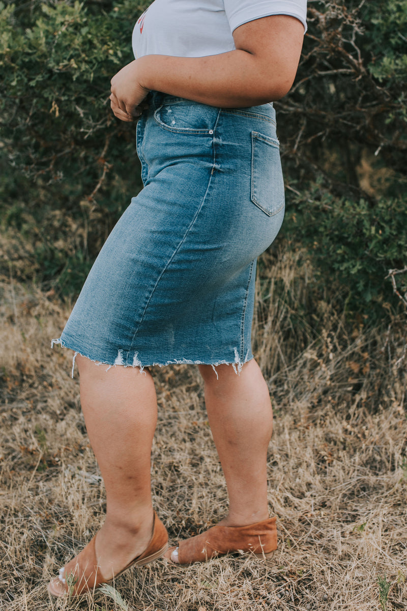 PLUS SIZE - Sweetwater Denim Skirt - 2 Colors