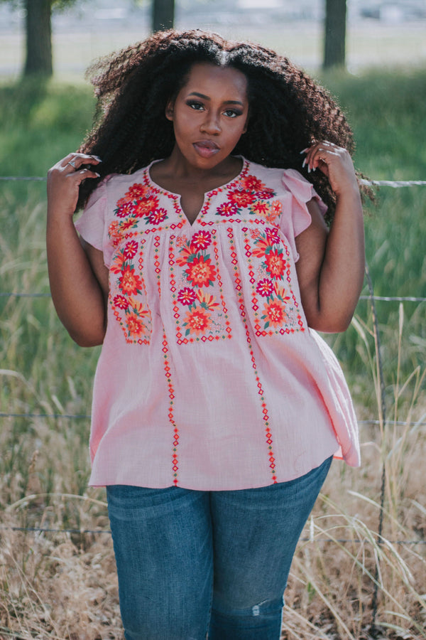 PLUS SIZE - Presley Embroidered Top