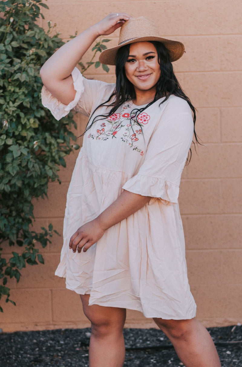 PLUS SIZE - Braden Embroidered Dress