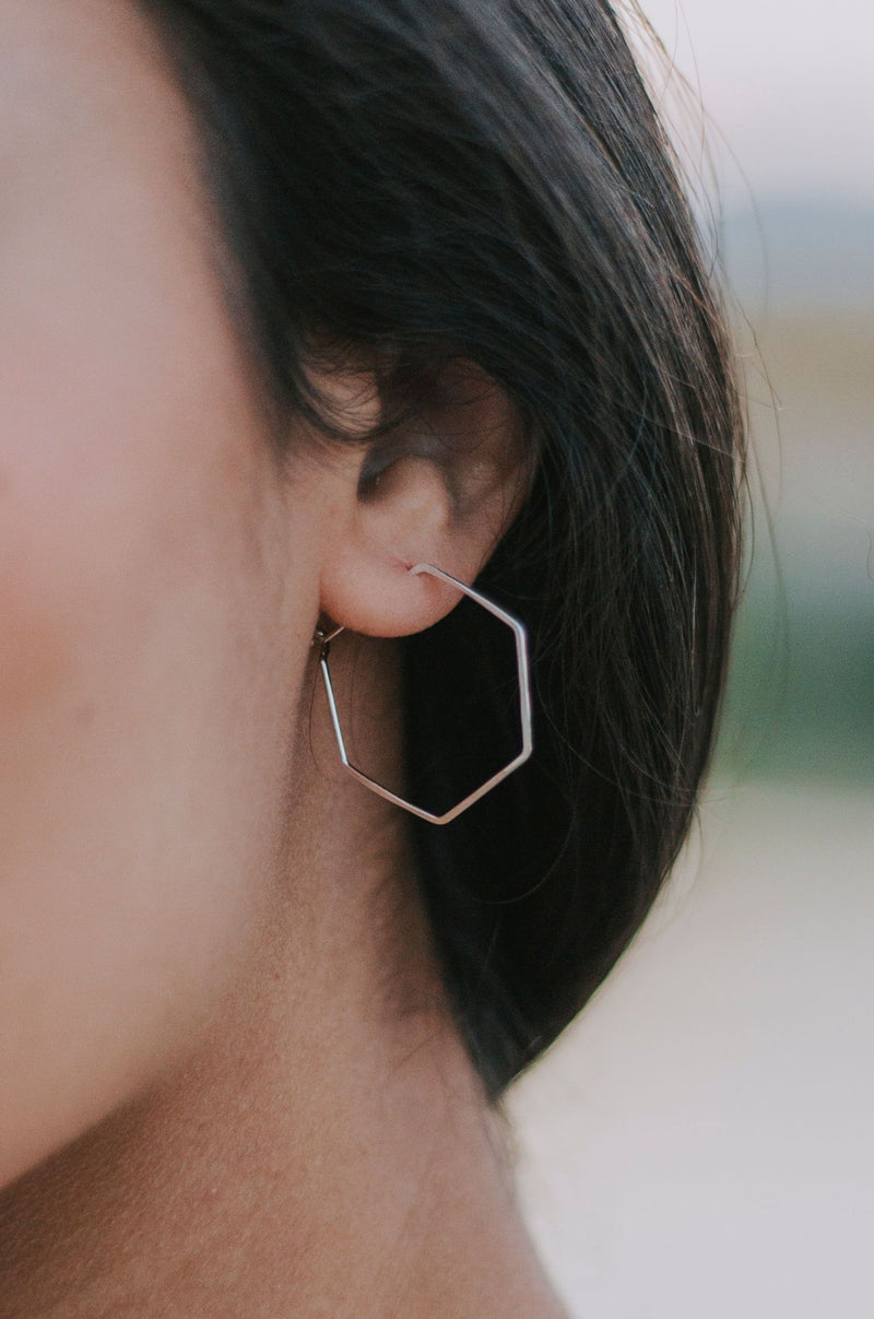 Hex Hoop Earrings - 2 Colors