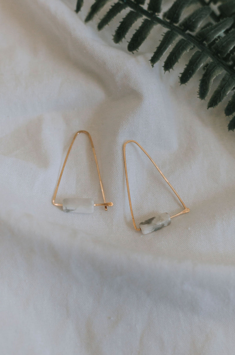Howlite Triangle Earrings