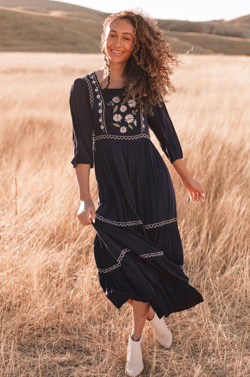 Dainty Daisy Embroidered Dress