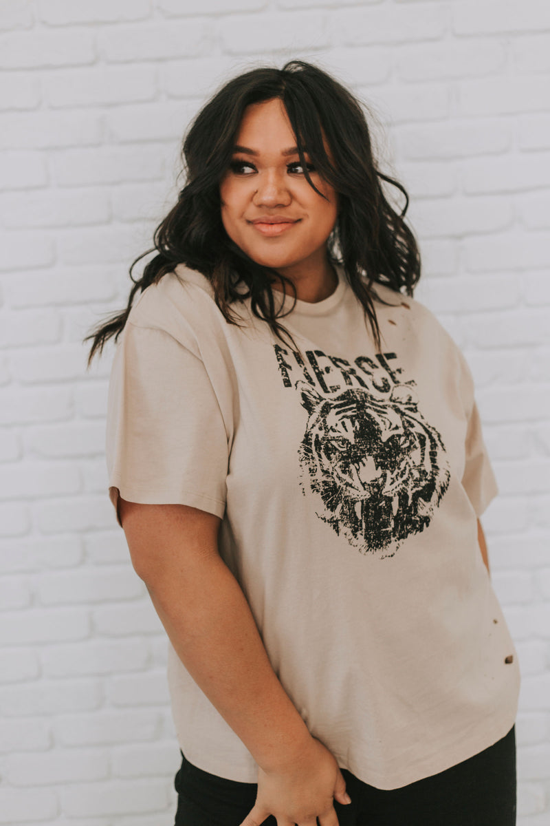 PLUS SIZE - Fierce Distressed Graphic Tee