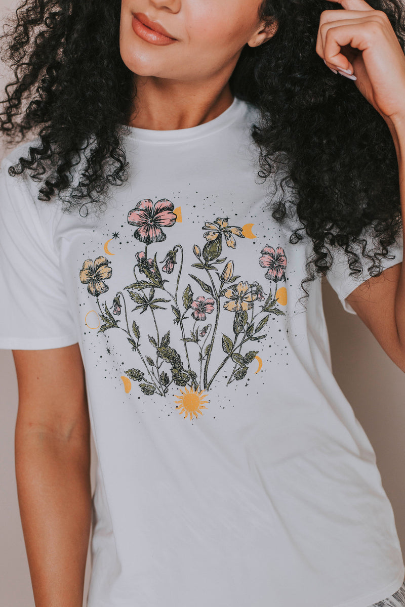 Flowers And Stars Graphic Tee